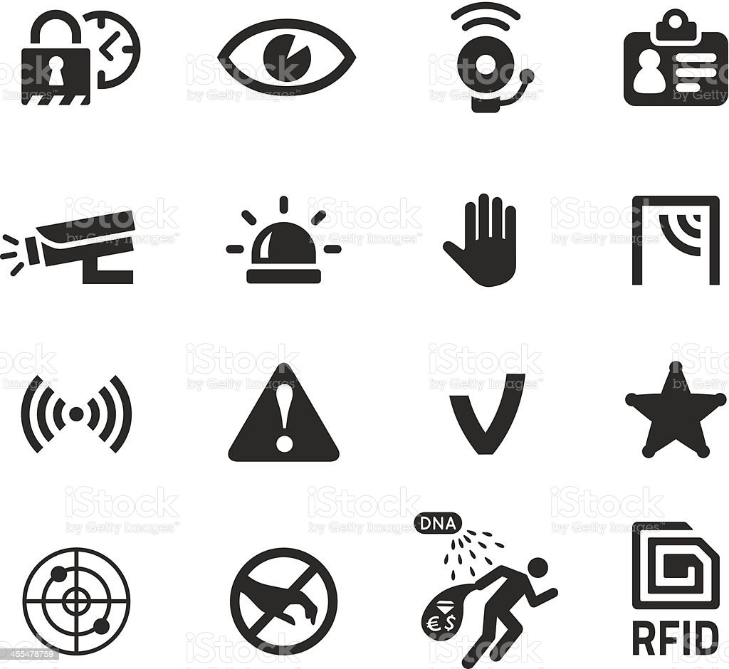 in shop theft prevention and security icons vector art illustration