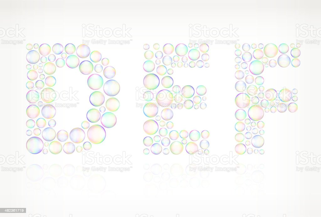 DEF in Soap Bubbles royalty free vector icon set royalty-free stock vector art