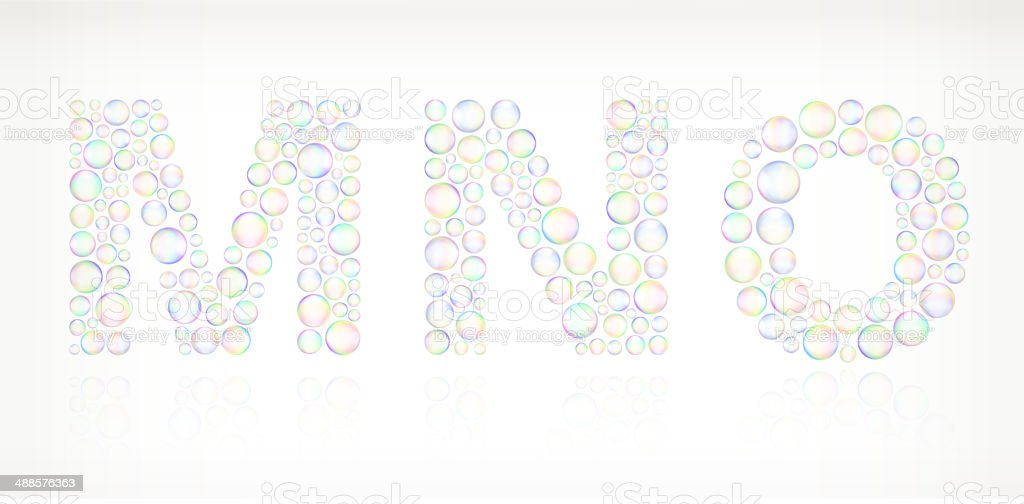 MNO in Soap Bubbles vector art illustration