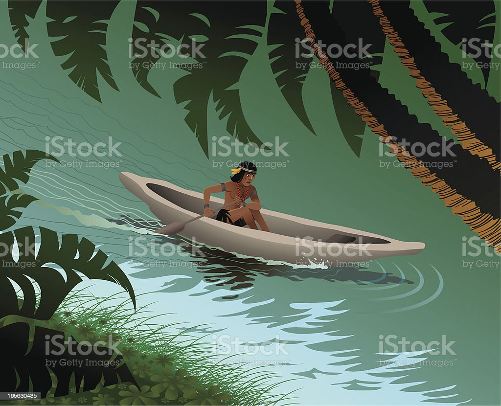 In the Amazon river vector art illustration