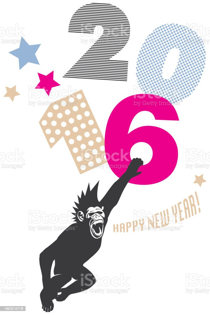 In the Year of The Monkey Chimp Wishes Happy 2016 vector art illustration