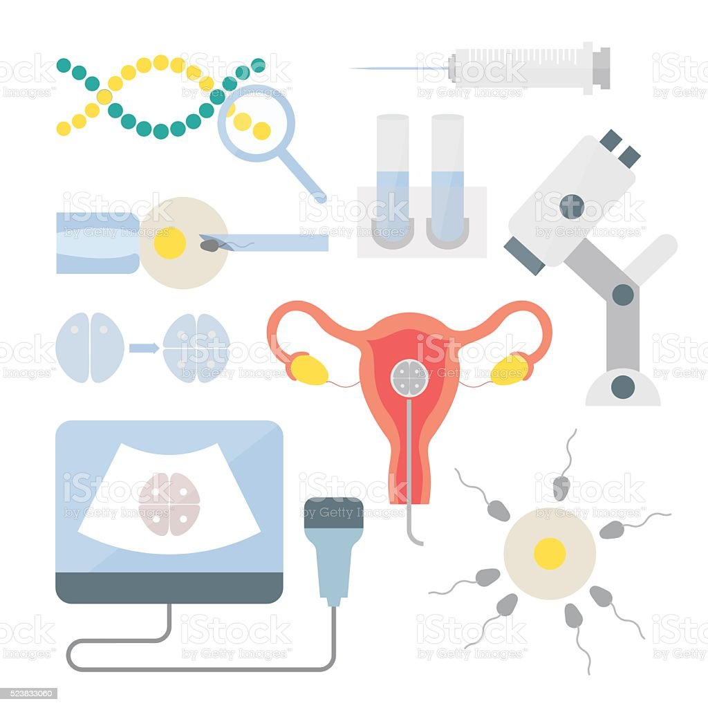 In vitro fertilization set vector art illustration
