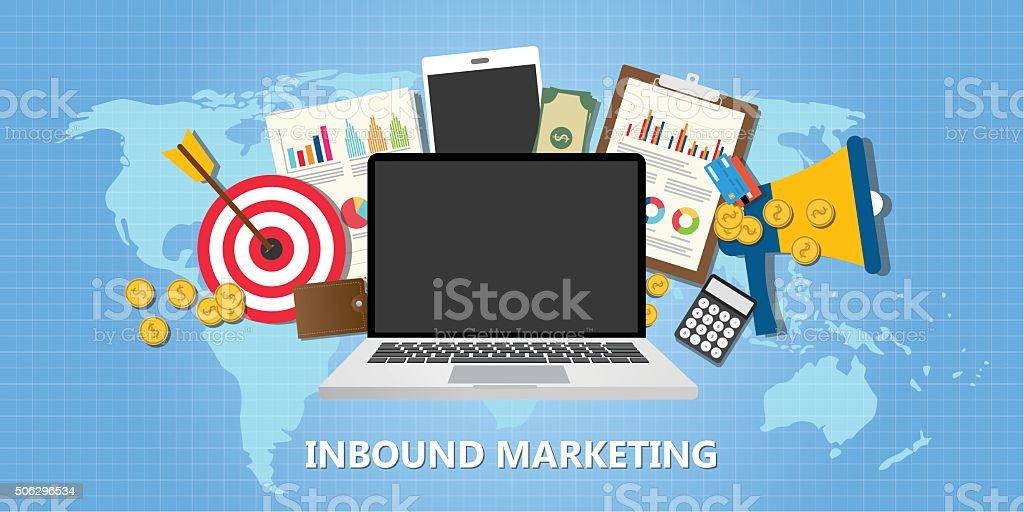 inbound marketing concept with graph data goals vector art illustration