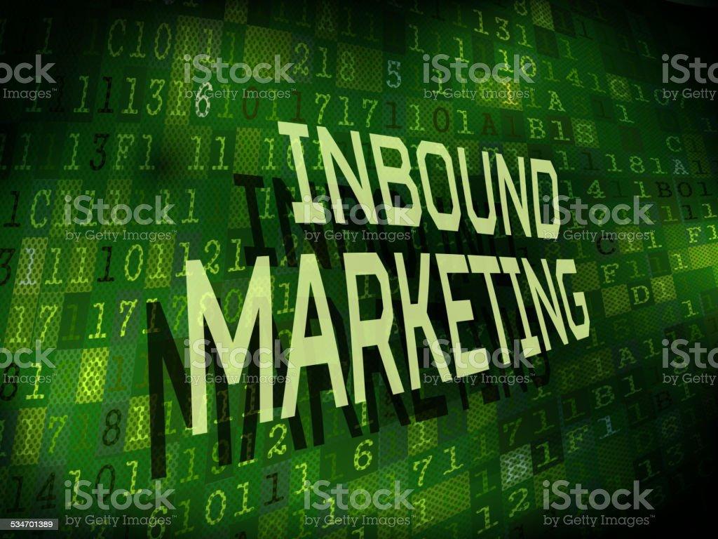 inbound marketing words isolated on digital background vector art illustration