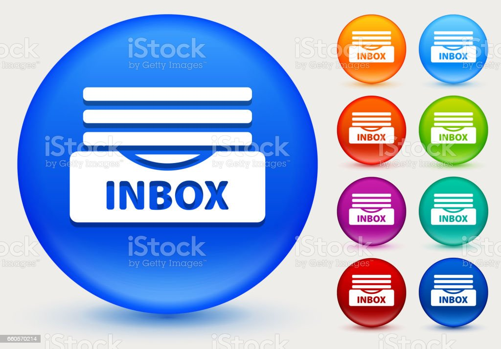 Inbox Icon on Shiny Color Circle Buttons vector art illustration