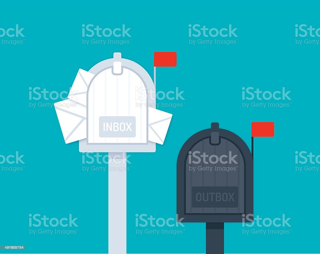 Inbox Outbox Mailboxes vector art illustration