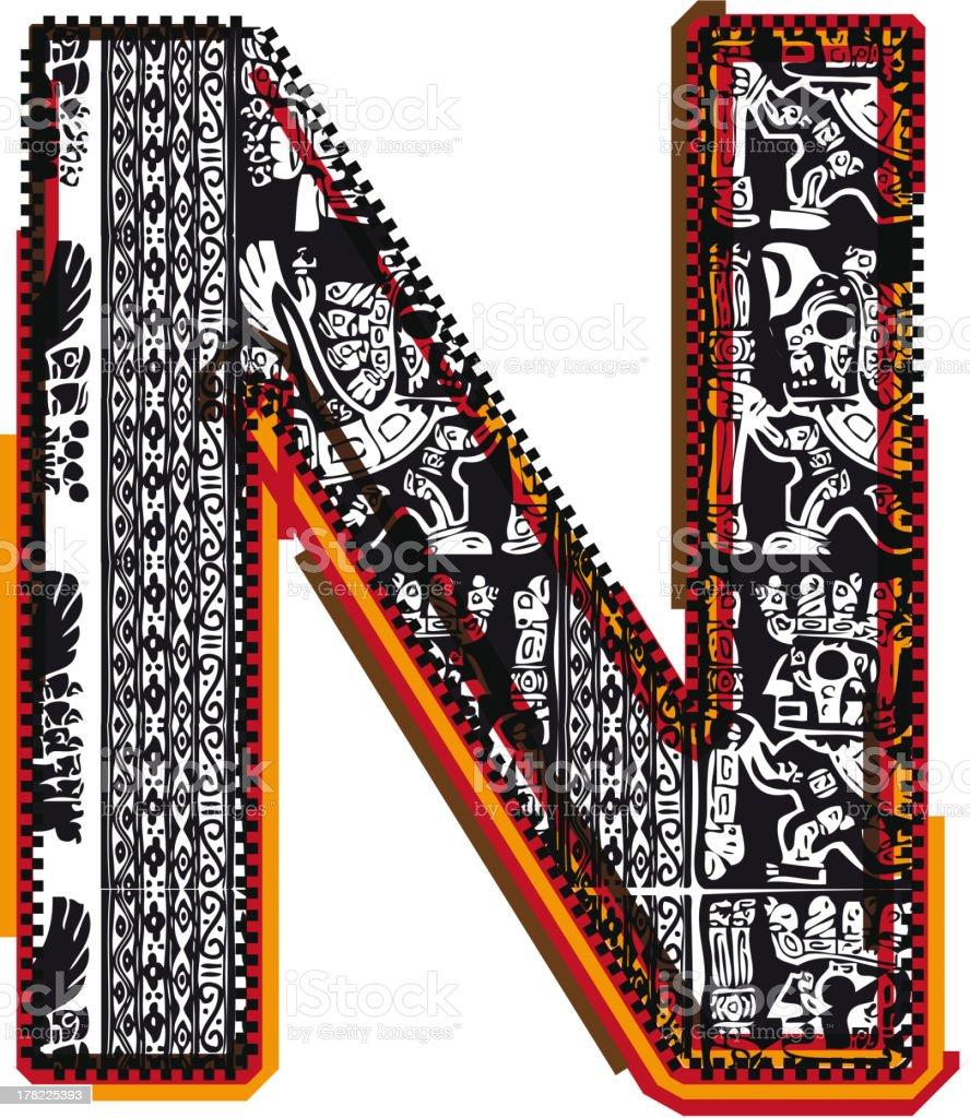 Inca Letter N royalty-free stock vector art