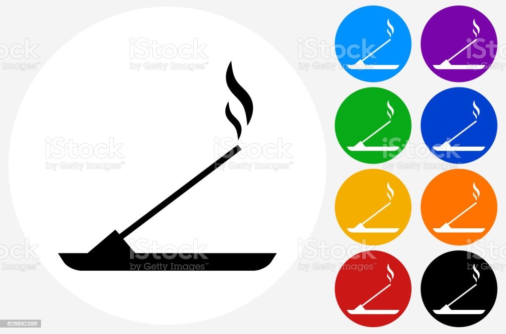 Incense Icon on Flat Color Circle Buttons vector art illustration