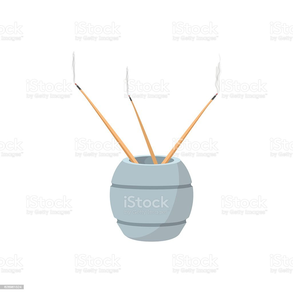 Incense sticks with stand cartoon icon vector art illustration