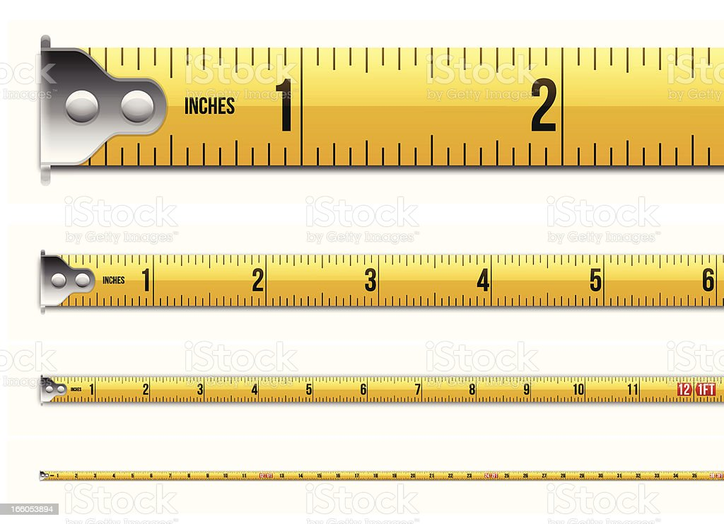 Inches and Feet Tape Measure vector art illustration