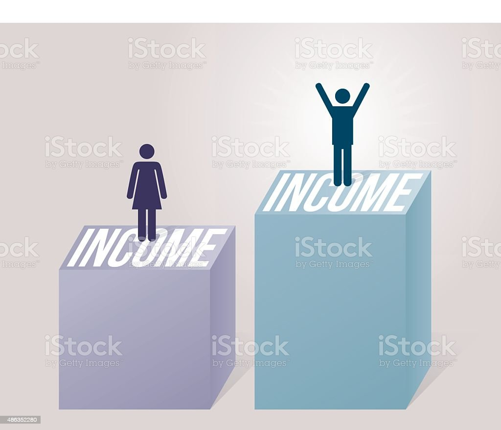 Income inequality male female jobs salaries vector art illustration