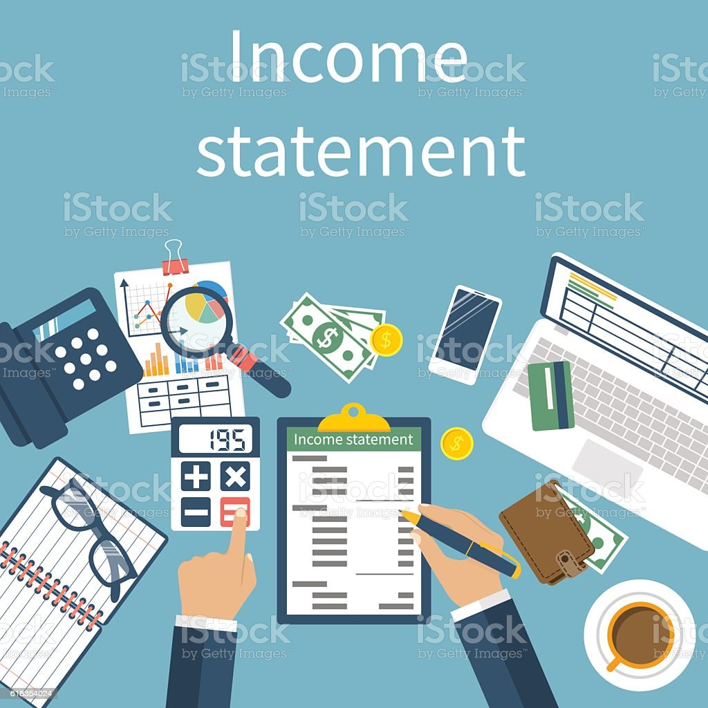 Income statement. Accounting vector art illustration