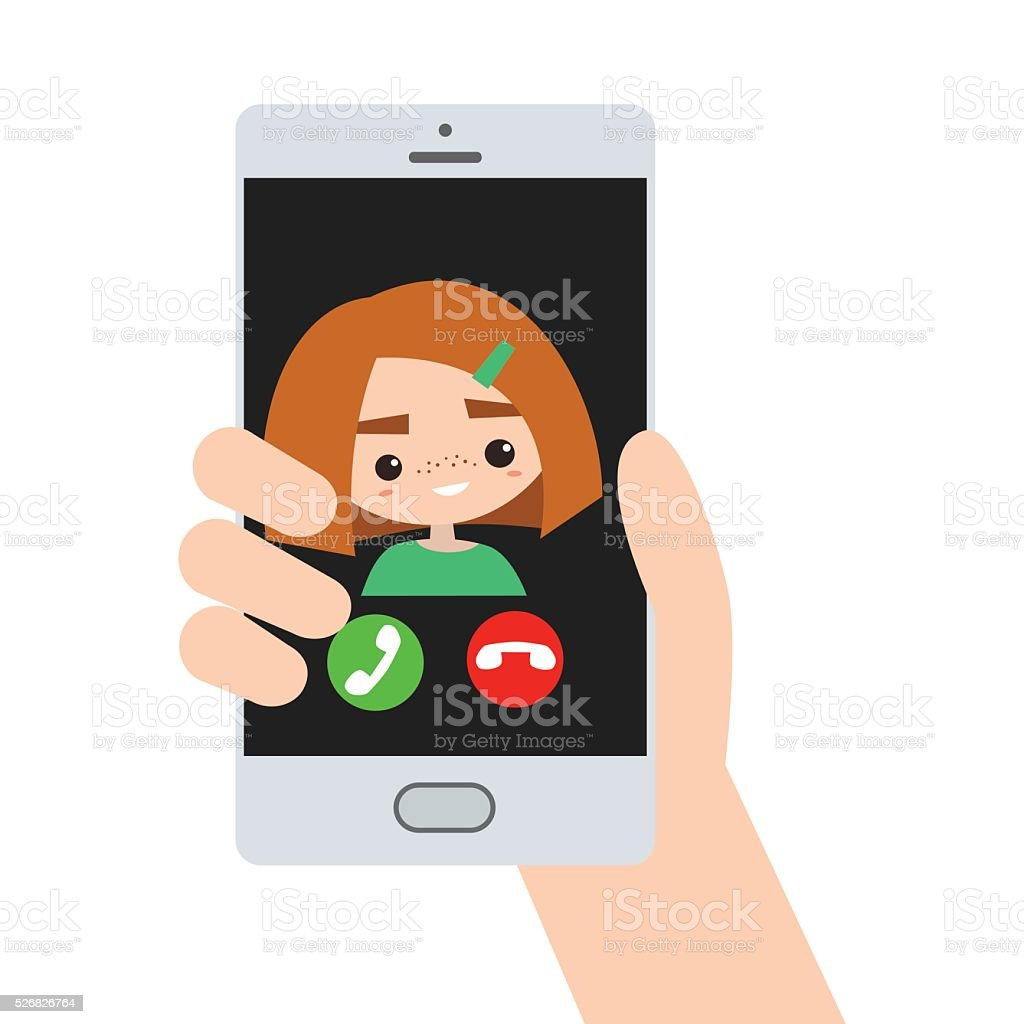Incoming call from red hair girl vector art illustration