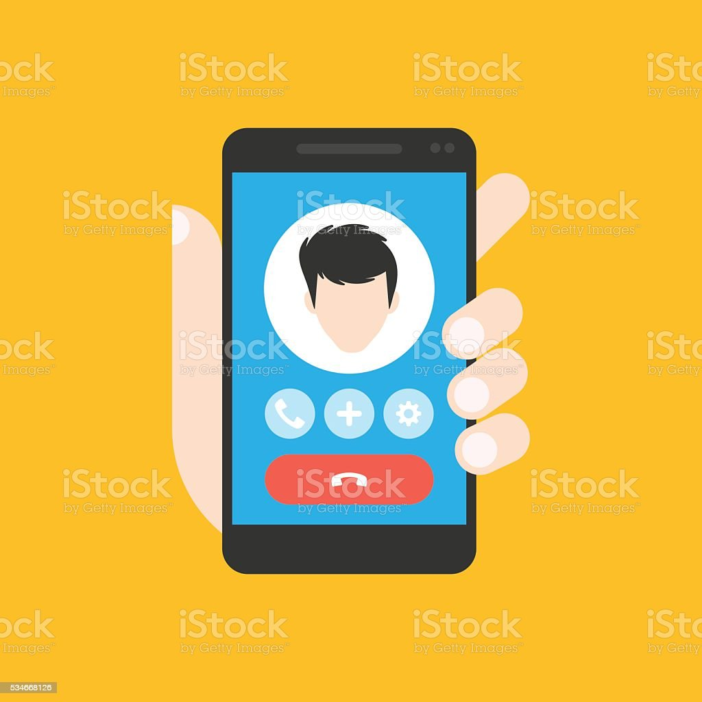 Incoming call on mobile stock photo
