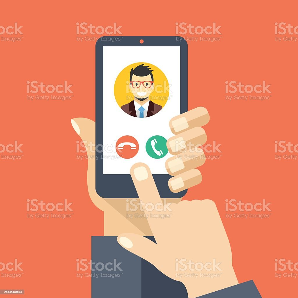 Incoming call on smartphone screen. Creative flat design vector illustration vector art illustration