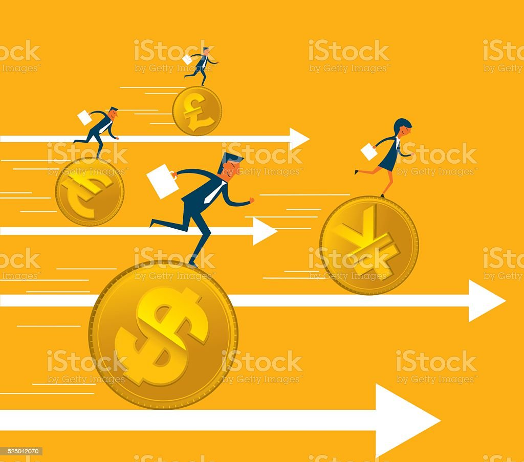 Increase in Dollar Rate vector art illustration