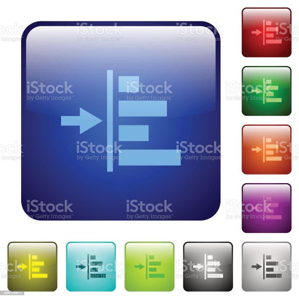 Increase left indentation of content color square buttons vector art illustration