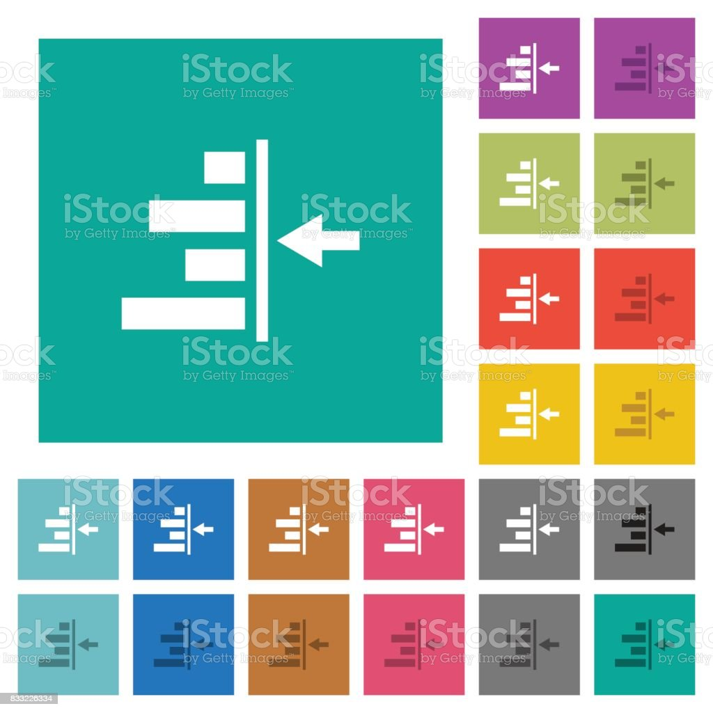 Increase right indentation of content square flat multi colored icons vector art illustration
