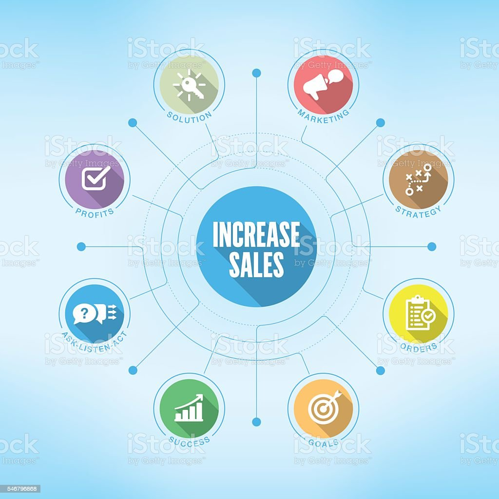 Increase Sales chart with keywords and icons vector art illustration