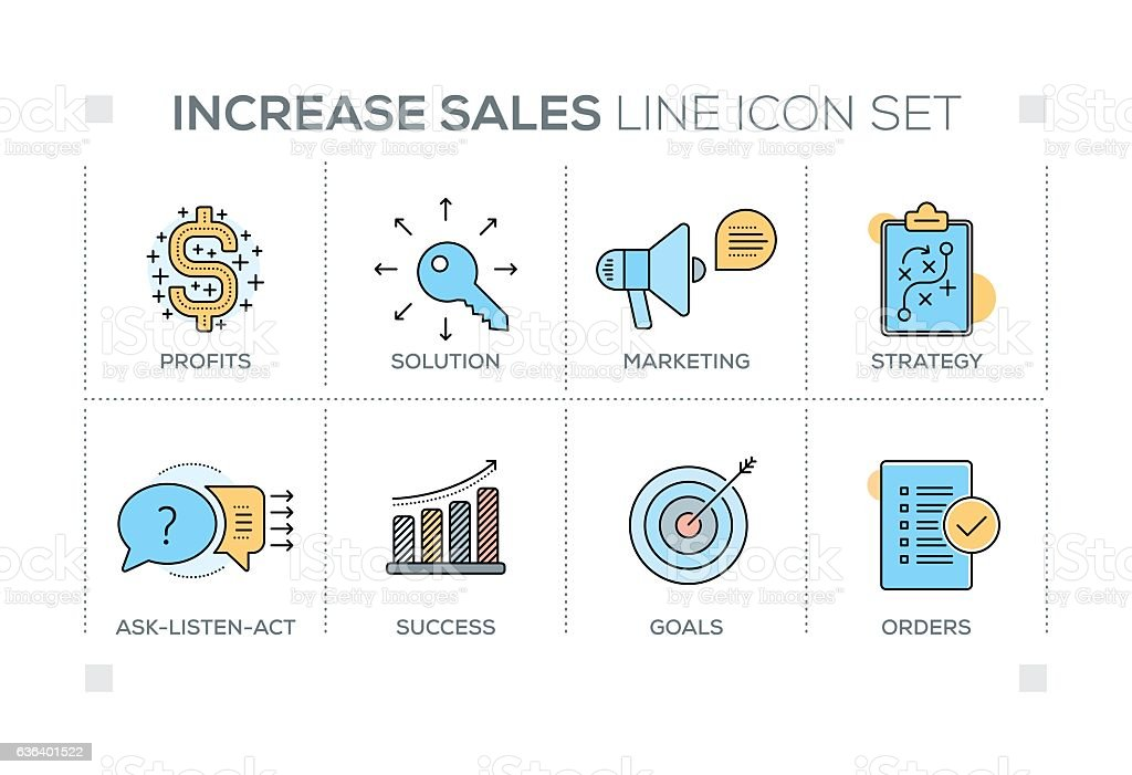 Increase Sales keywords with line icons vector art illustration