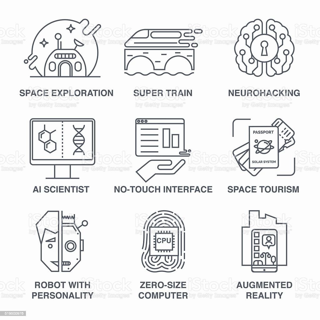 Incredible future technologies line icon set. vector art illustration