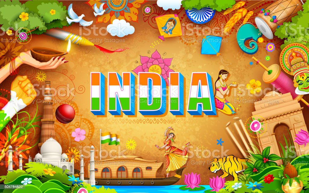 Incredible India background vector art illustration