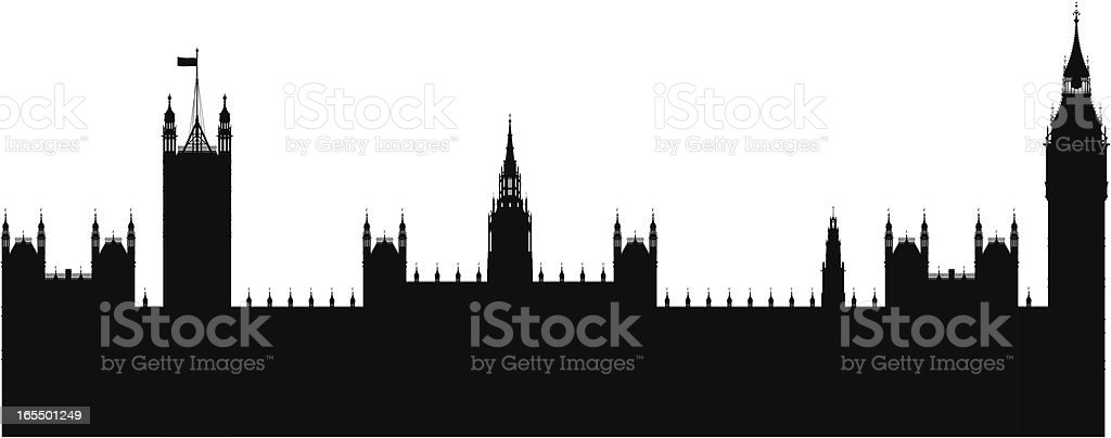 Incredibly Detailed Big Ben and the Houses of Parliament vector art illustration