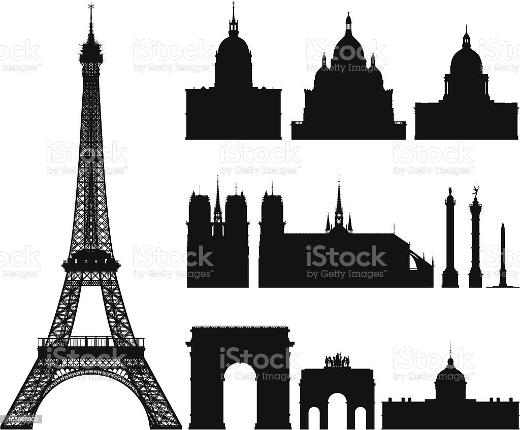 Incredibly Detailed Buildings of Paris royalty-free stock vector art