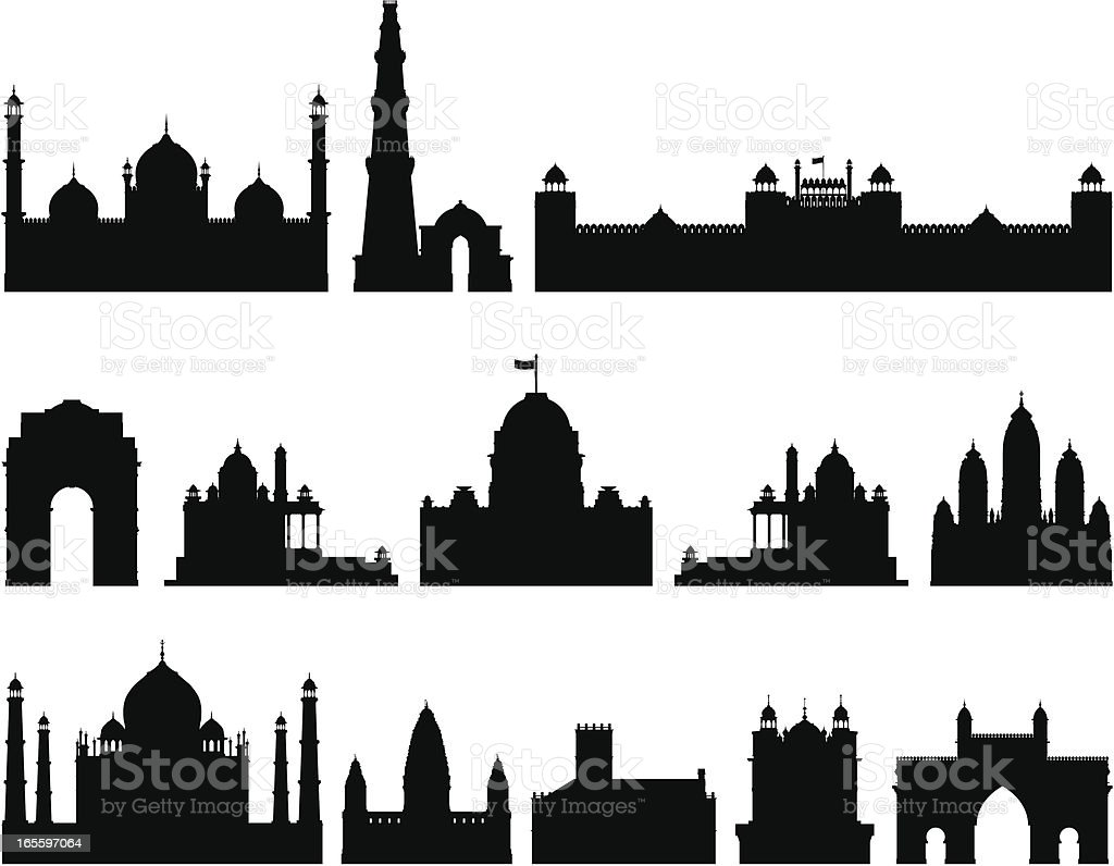 Incredibly Detailed Indian Buildings vector art illustration