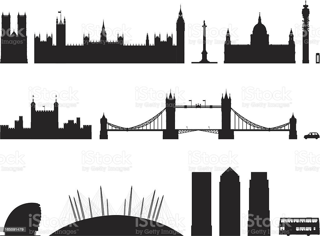 Incredibly Detailed London Buildings vector art illustration