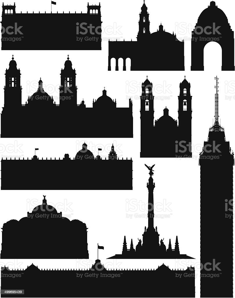 Incredibly Detailed Mexico City Monuments vector art illustration