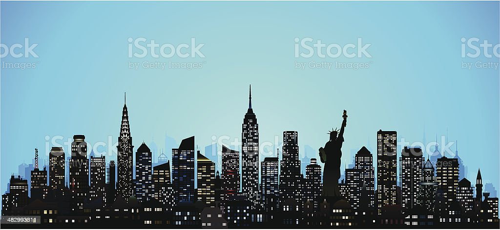 Incredibly Detailed New York (124 Buildings) vector art illustration