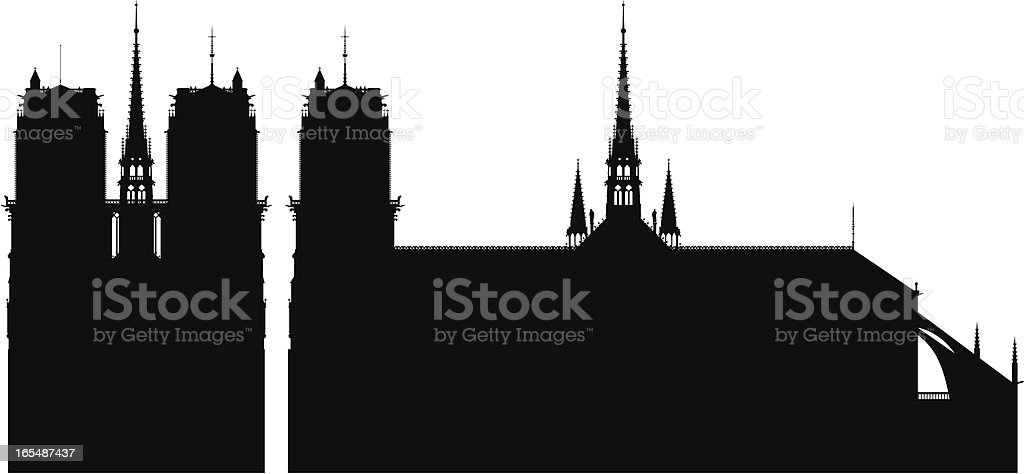 Incredibly Detailed Notre Dame, Paris royalty-free stock vector art