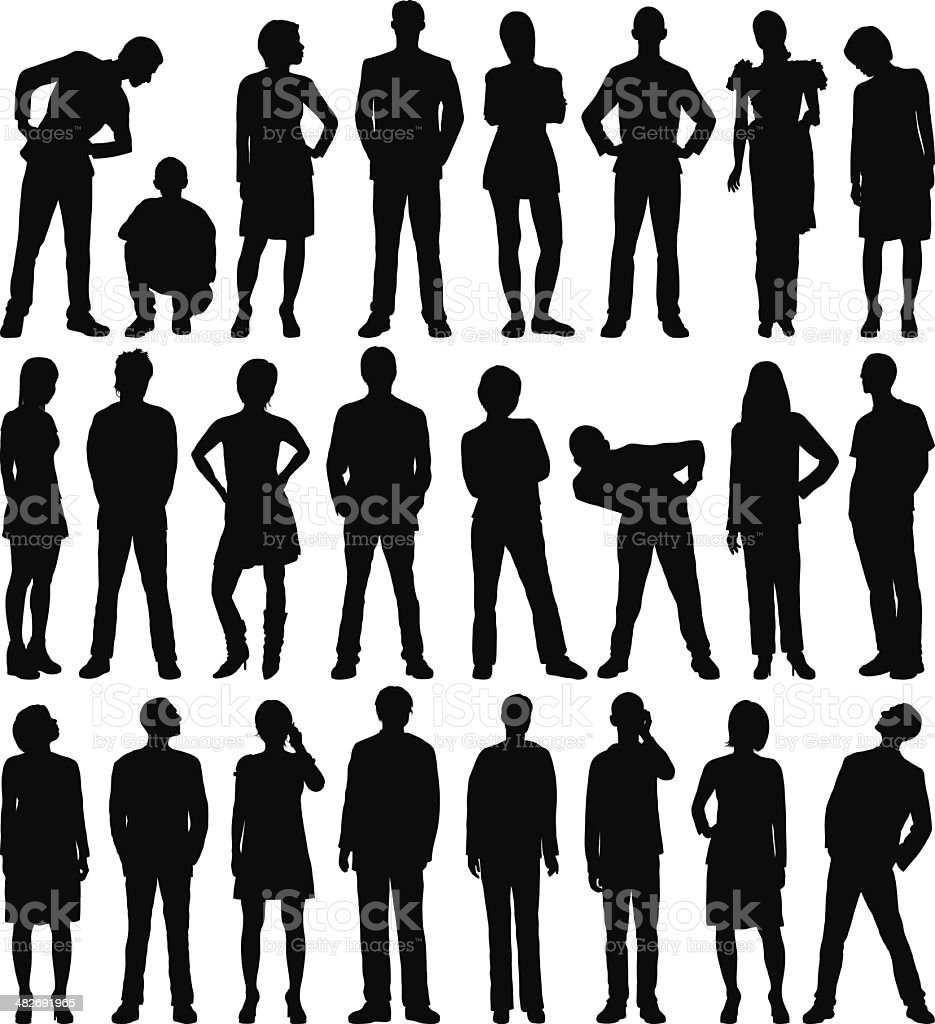 Incredibly Detailed People Silhouettes royalty-free stock vector art