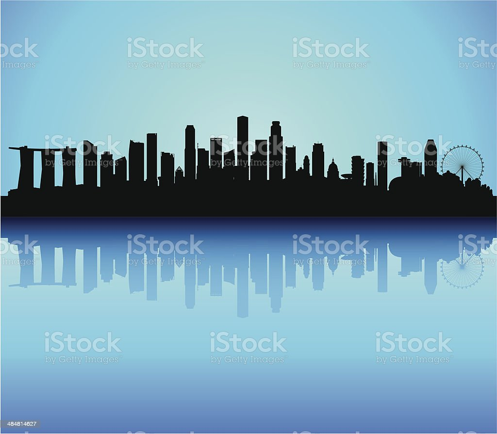 Incredibly Detailed Singapore Skyline (Complete, Moveable, Detailed Buildings) vector art illustration