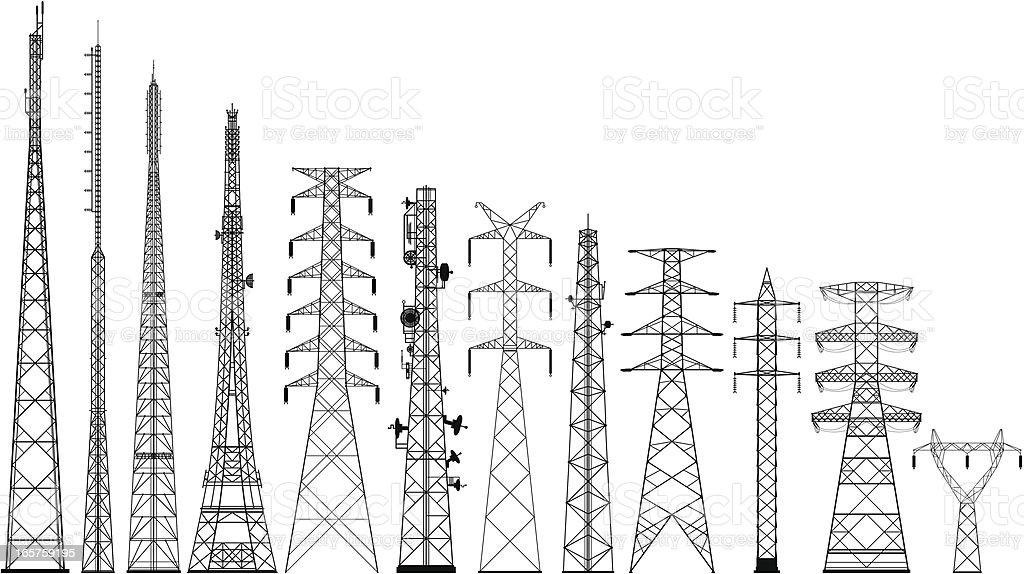 Incredibly Detailed Tower Silhouettes vector art illustration