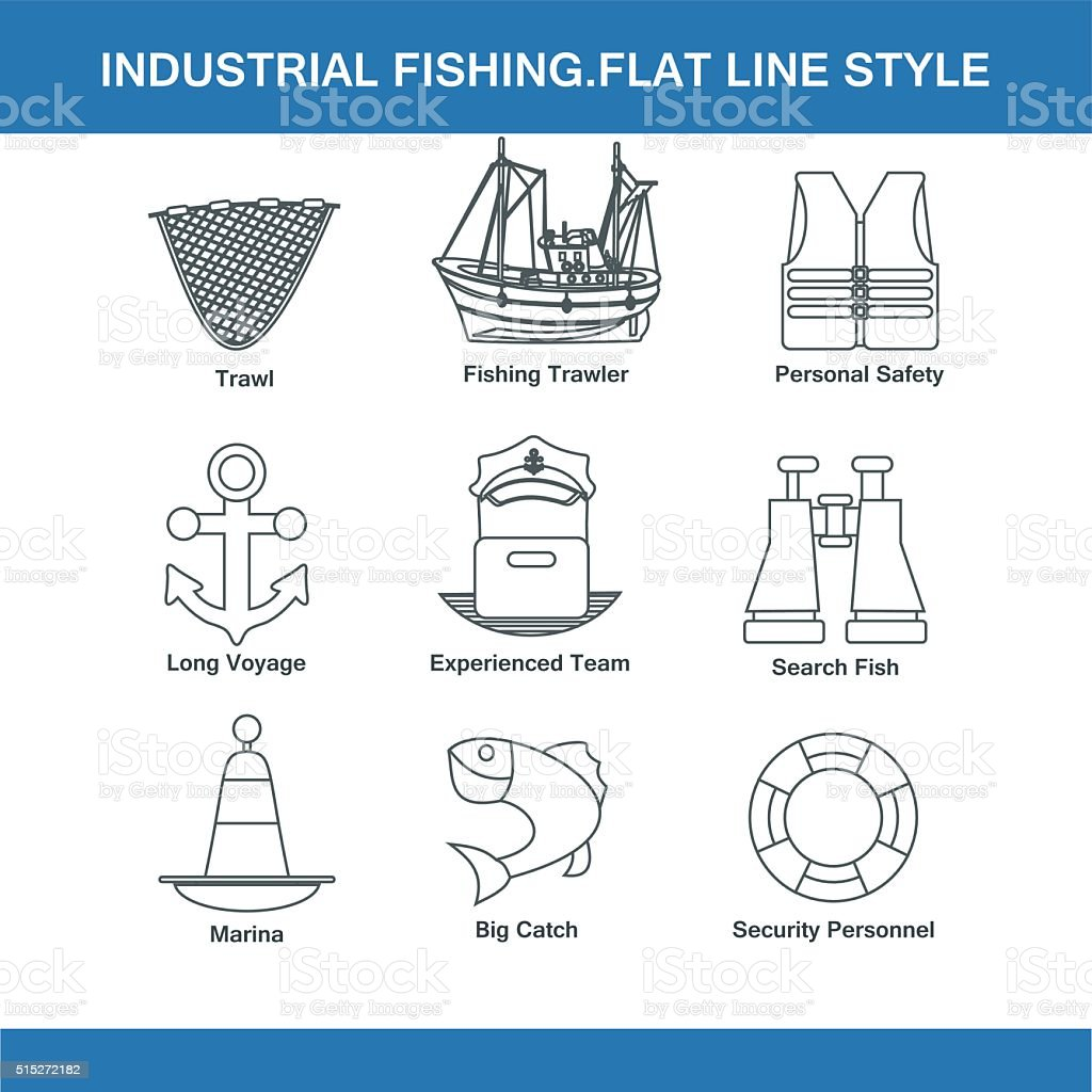 indastrial fishing flat line style vector art illustration