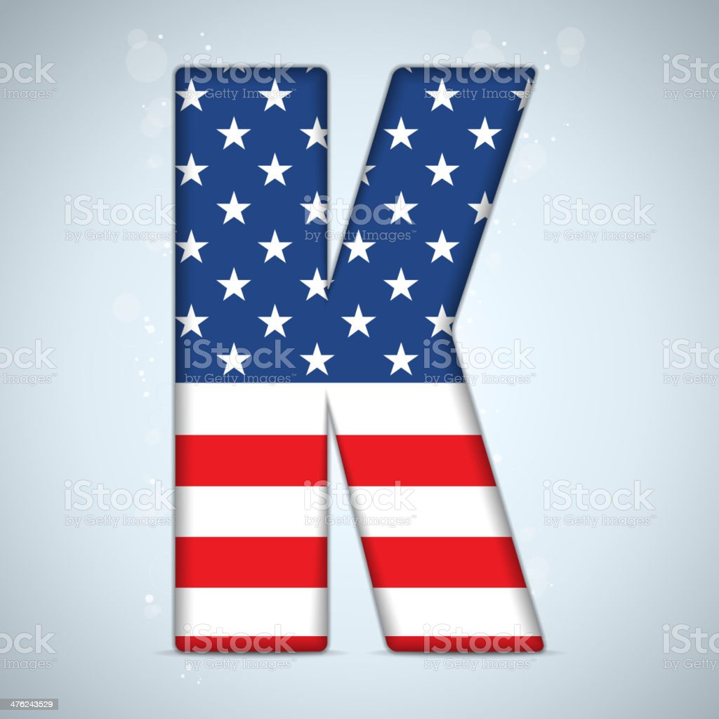 USA Independence Day Alphabet Letters vector art illustration