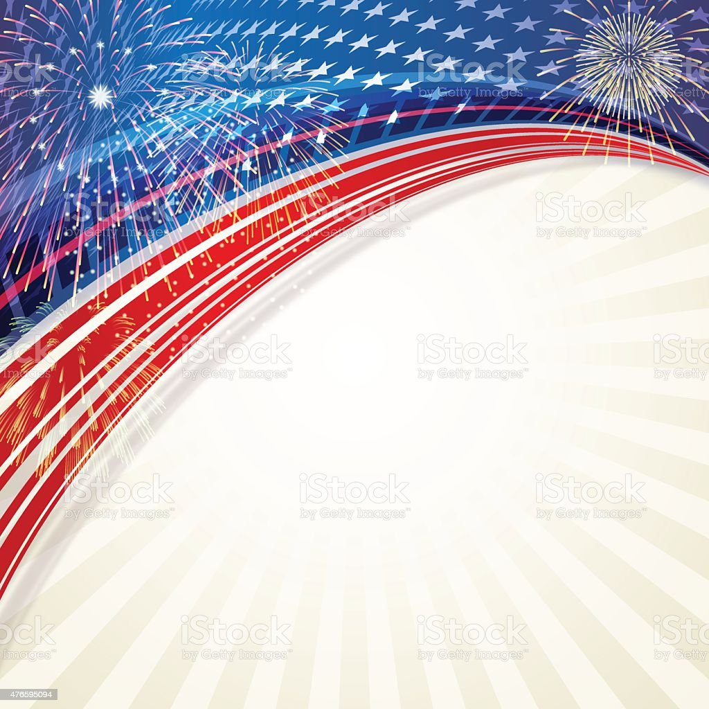 Independence Day background[Fireworks and stars] vector art illustration