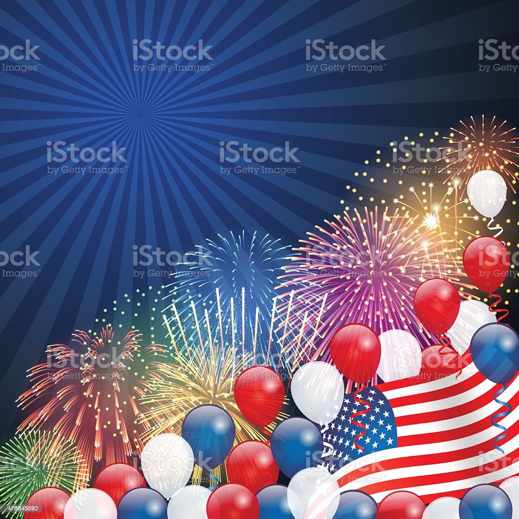 Independence Day background[Fireworks and USA flag] vector art illustration