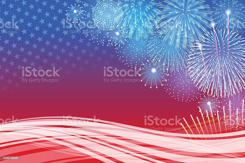 Independence Day background[Fireworks] vector art illustration