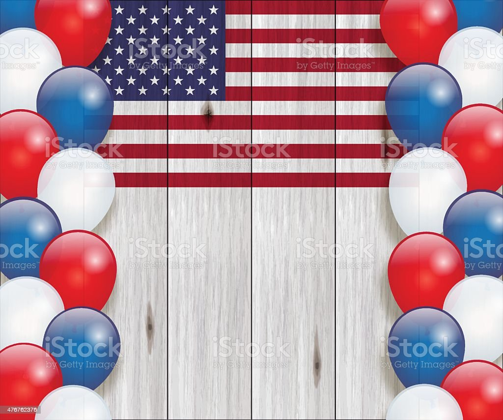 Independence Day background[USA flag and balloons] vector art illustration