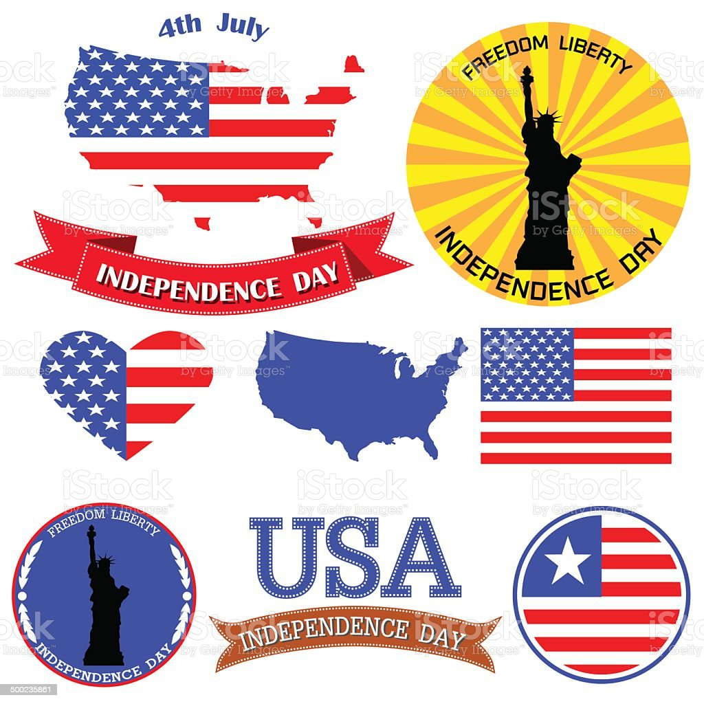 Independence day badge and label royalty-free stock vector art