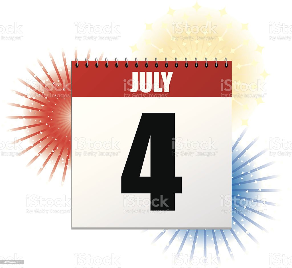 Independence Day Calendar royalty-free stock vector art