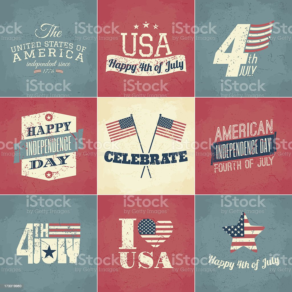 Independence Day Cards Set royalty-free stock vector art