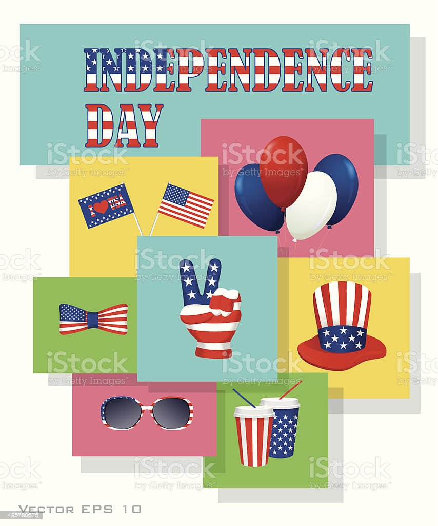 Independence Day design elements set royalty-free stock vector art