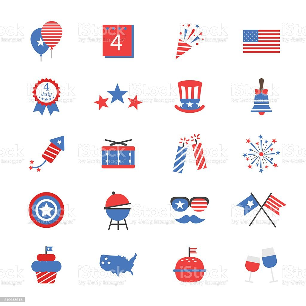 Independence Day Flat Color Icons vector art illustration