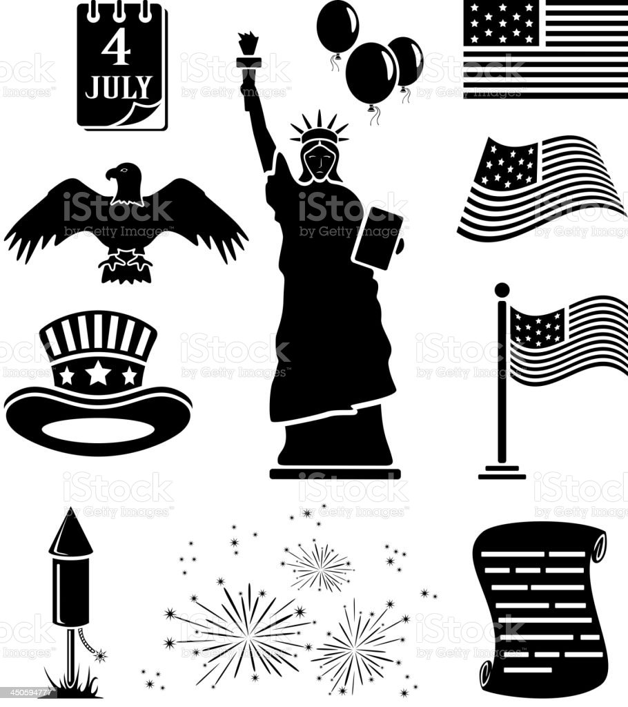 Independence day icons vector art illustration