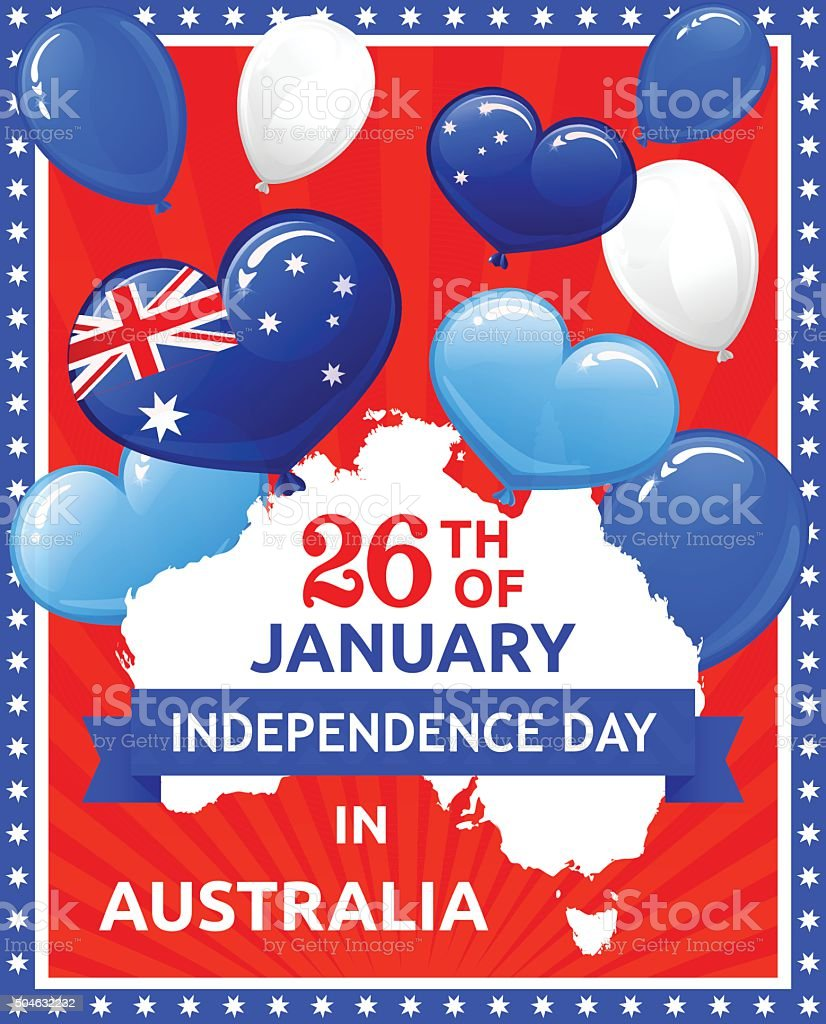 Independence Day in Australia vector art illustration