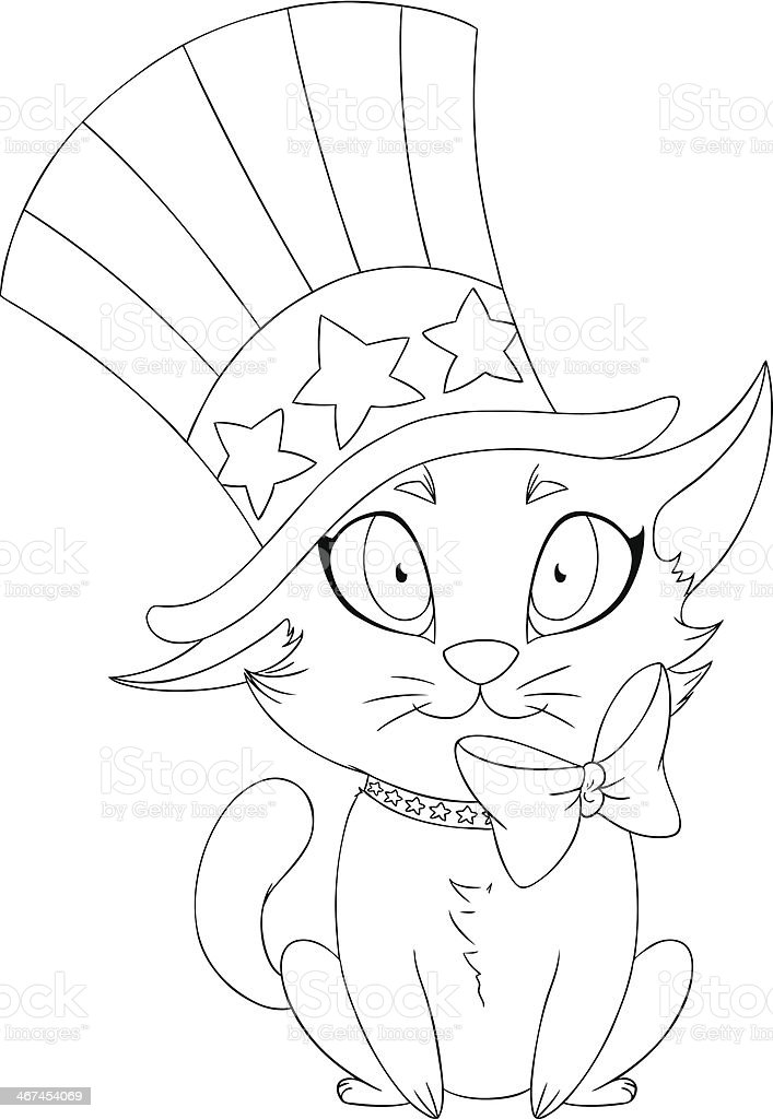 Independence Day Kitten Coloring Page royalty-free stock vector art